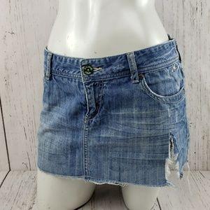 O'Neill Distressed Jean Skirt Medium Wash Size 5